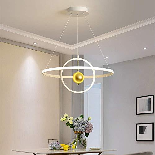 LEBBD Dreifarbiger LED-Dimmerring Kronleuchter Villa Hotel Restaurant Wohnzimmer Esszimmer Einfache Hängelampe Licht 2 Kreis Runde Goldene Kugel Dekoration Gemütliches Weiß