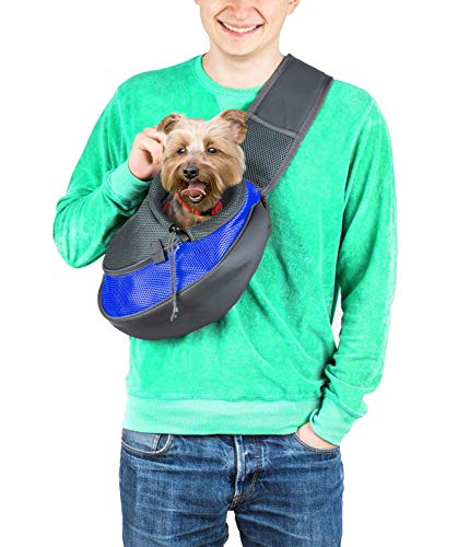 Cuddlissimo! Pet Sling Carrier - Small Dog Cat Sling Pet Carrier Bag Safe Reversible Comfortable Adjustable Pouch Single Shoulder Carry Tote Handbag for Pets Below 6lb (for Small Pets, Deep Blue)