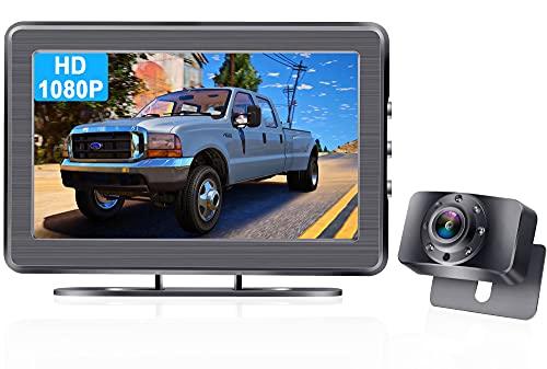 Rückfahrkamera HD 1080P mit 4.3\'\' Monitor,Einfache Installation rückfahrkamera kennzeichenhalter LED-Leuchten Klare Nachtsicht, DIY-Leitlinien AMTIFO A2 System