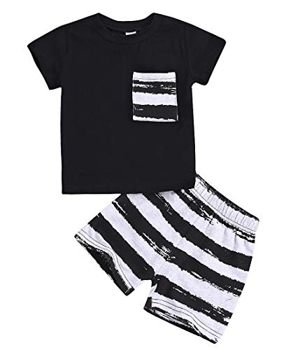 Infant Baby Boy Clothes Sets Summer Cotton Short Sleeve T Shirts and Shorts Kids Outfits Sets(Black,6-12 Months)