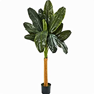 "Artificial Banana Leaf Tree in Pot, Plant Species: Banana Leaf, Base: 7"""" H x 7"""" W x 7"""" D"
