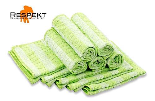 RESPEKT Mikrofaser Bamboo Geschirrtücher, Trockentücher, Putztücher und Reinigungstücher für den Haushalt, das Auto uvm. - 10tlg. Mikrofaser Geschirrtücher Set in grün