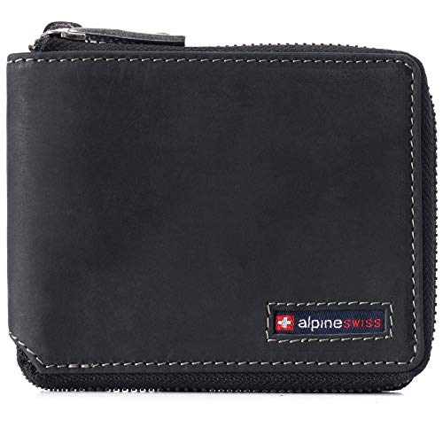 Alpine Swiss Logan Mens RFID Safe Zip Around Wallet Cowhide Leather Zipper Bifold with Gift Box Charcoal