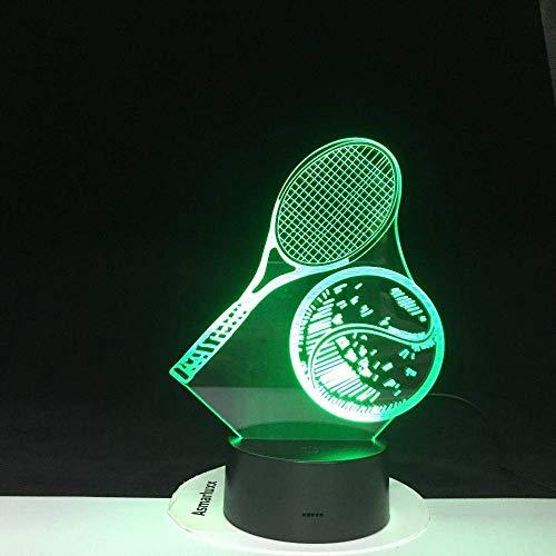 Modellazione 3D LED Tennis Night Light 7 Cambia colore USB Lampada da tavolo Fan di tennis Home Decor Luminaria Light Gifts 4303