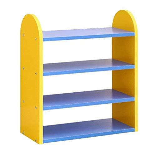 Estante de zapatos, Gabinete de zapatos a prueba de polvo 4 niveles de zapatos para niños, color combinado, estante encantador, gabinete de zapatos de almacenamiento de madera, 452055 cm (color: amari