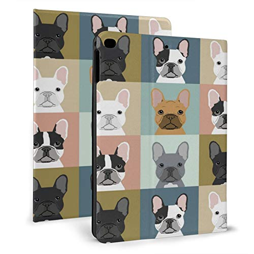 Ipad Air1/2 9.7' Case French Bulldog Leather Smart Folio Cover Freely Adjustable Case Stand