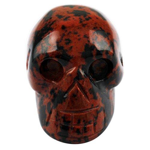 Rockcloud Healing Crystal Stone Human Reiki Skull Figurine Statue Sculptures Mahagony Obsidian 1'