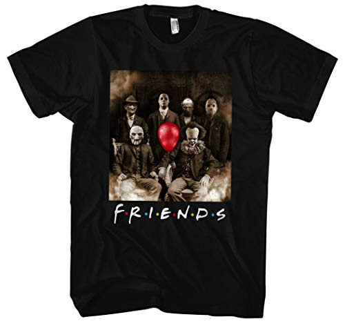 Friends Horror Männer Herren T-Shirt | Horror Halloween Nightmare Freddy Michael Myers Jason Clown (XXL)