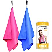 PERFECT MIDLLE SIZE MICROFIBER TOWEL - Perfect middle size (32'' x 16'') microfiber towels and travel towel for Camping, Gym, Beach, Yoga, Swimming, Backpacking,etc. SUPER ABSORBENT – Luxtude quick dry towel can hold up to 4 times its weight in water...