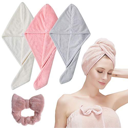 Toalla de microfibra para el pelo, Nifogo Forro polar de coral, 3 Paquetes de toallas para el pelo, más 1 Diadema de maquillaje, turbante superabsorbente con botón transparente para mujeres