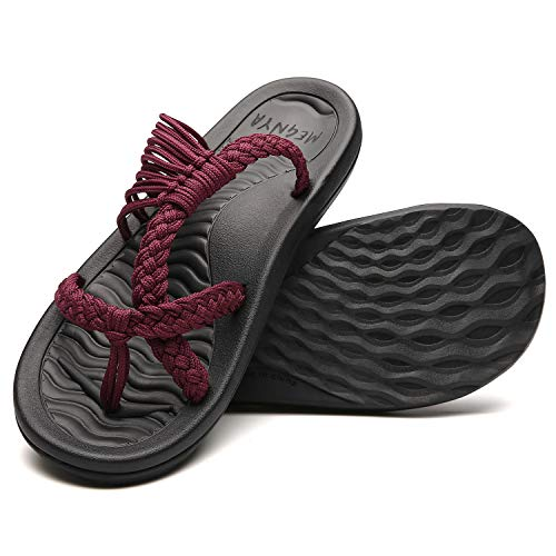 Comfortable Women's Walking Flip Flops, Soft Hand-Woven Strap Sandals for Women, Wadable Sandals for Summer Beach/Boating size 8