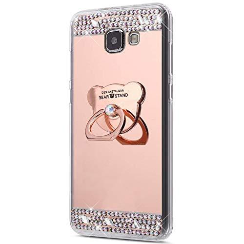 Coque Galaxy A3 2016,Surakey [360 Rotation Bague bâton support] Bling Paillette Glitter Strass Miroir Housse Coque Silicone TPU Etui Téléphone Coque Housse pour Samsung Galaxy A3 2016, Or Rose