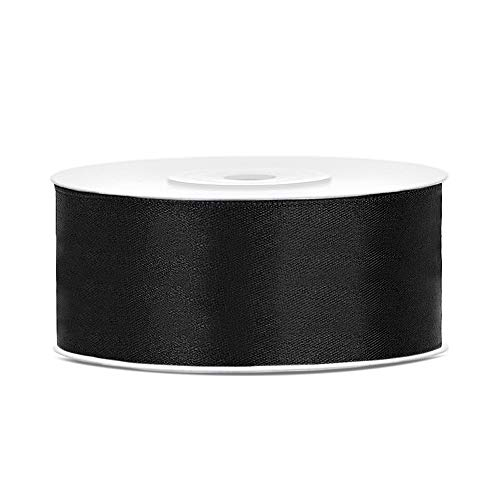 DaLoKu Satinband 6/12/25/38/50/100mm x 25m Geschenkband Schleifenband, Größe: 25mm x 25m, Farbe: Schwarz