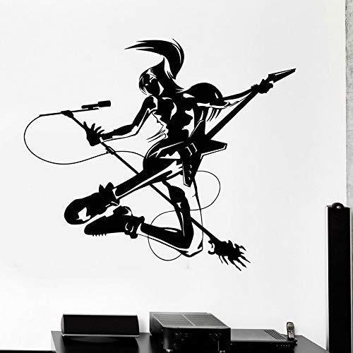 YIYEBAOFU zwart dinosaurus muur stickers, muzikant meisje rock pop tiener kamer vinyl muur sticker huisdecoratie stickers verwijderbare zelfklevende w