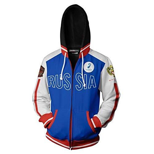 Haoli Yuri !!! auf Ice Sweater-Jacke, COS-Sweatshirt Reißverschluss gefälschte Zweiteilige Kapuze (Color : Blue, Size : XXXL)
