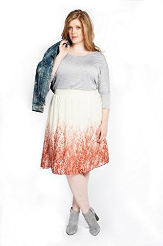 Mikarose Women's A-line Branch Print Plus Size Skirt Cream