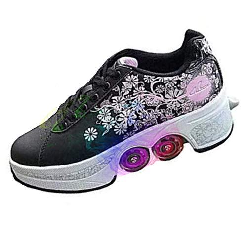 NDYD Patines de Rodillos, Zapatos con Ruedas para niñas, Zapatos Unisex con Rueda, Patada Zapatos de Rodillo Adultos, Deportes al Aire Libre, negro-r35 DSB (Color : Black, Size : EUR41)