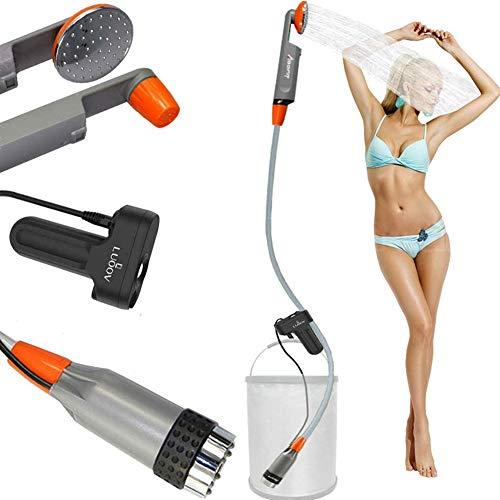 Zooma Tragbare Duschen Camping Dusche, Campingdusche mit Tauchpumpe, Tragbar Outdoor Dusche Wasserpumpe für Camping (Einheitsgröße, Orange2)