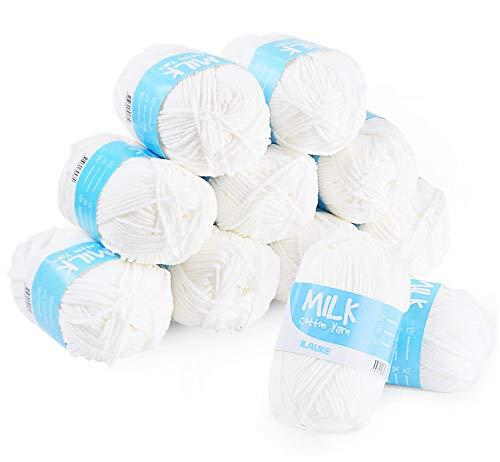 ilauke Pelotes de Laine 12pcs Blanc en Acrylique en Coton Lait 100m Pelotes Fil a Tricoter Laine pour Tricotpour Tricot Les Loisirs Créatifs-100m/Rouleau,50g/Rouleau