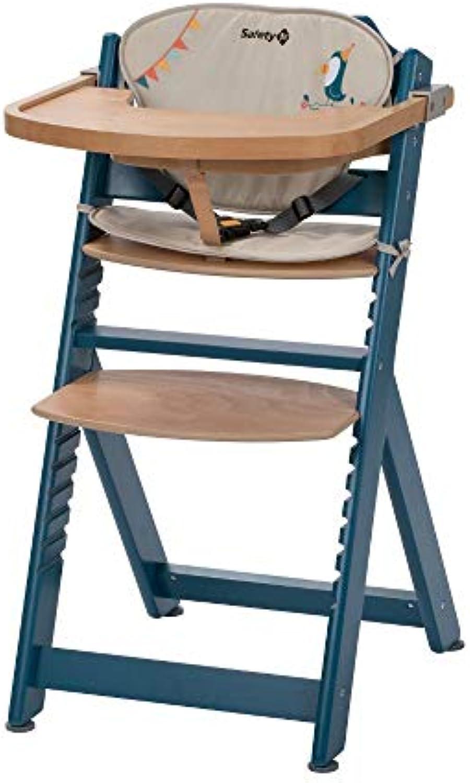 Safety 1st Timba Mitwachsender Hochstuhl und passendes Sitzkissen, inkl. abnehmbares Tischchen, hohe Rückenlehne, ab ca. 6 Monaten bis ca. 10 Jahre (max. 30 kg), Buchenholz, petrol Blau (blau)
