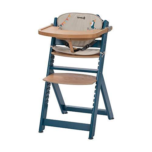 Safety 1st 2760702000 Timba, mitwachsender Hochstuhl aus Holz mit passendem Sitzkissen, abnehmbares Tischchen, ab 6 Monate bis ca. 10 Jahre (max. 30 kg), petrol blue (blau)