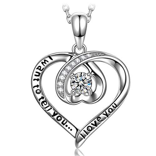 ANGEL NINA Collar con Colgante de corazón para Mujer Collar de corazón para Ella Collar de corazón de Plata para Mujer Collar de Plata 925 para Mujer Regalo de San Valentín para Ella