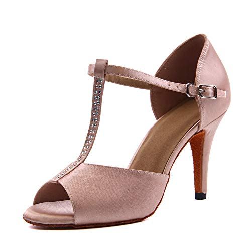 Syrads Zapatos de Baile Latino para Mujer Salsa Tango Moderna Bachata Vals Zapatos de Baile de Salón Suela Blanda 1046