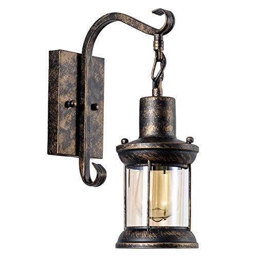 Duan hai rong Lámpara de Pared de Metal de Iluminación Industrial de la Vendimia, Accesorio Interior de Luces Caseras con Cubierta de Sombra de Cristal
