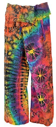 Guru-Shop Thai Fischerhose Batik, Herren/Damen, Pink/bunt, Baumwolle, Size:One Size, Fischerhosen Lange Größe Alternative Bekleidung