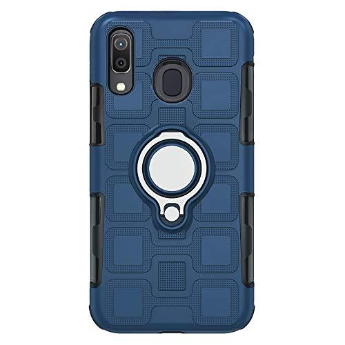 Compatibile con Samsung Galaxy M20|M30, Ring Kickstand a 360° con protezione da caduta, ultra sottile, in TPU, assorbe gli urti, morbida cover (M20, blu marino)