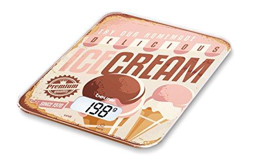 Beurer KS 19 Ice-Cream Küchenwaage, digitale, mit Tara-Zuwiegefunktion, Sensortastenbedienung, 5kg Tragkraft