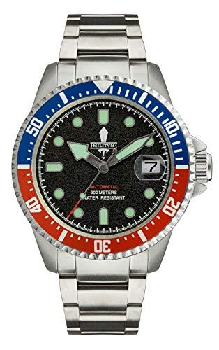 Reloj militar automático militar de 300 metros, esfera negra, bisel Pepsi tipo...