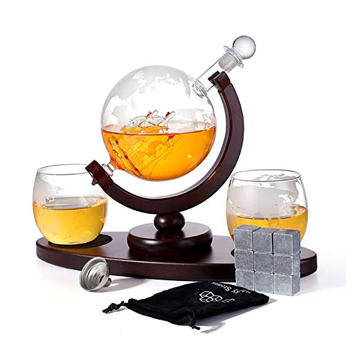 Whiskey Decanter Globe Set with 2 Etched Globe Whisky Glasses, Whiskey Stones, Pour Funnel - for Liquor Scotch Bourbon Vodka - 900ml
