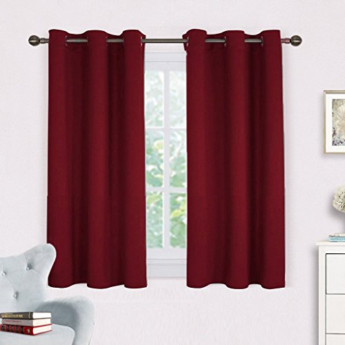 NICETOWN Burgundy Window Curtains Blackout Drapes, Thermal Insulated Solid Grommet Blackout Curtains/Draperies for Living Room (One Pair, 42 by 45-Inch, Burgundy Red)