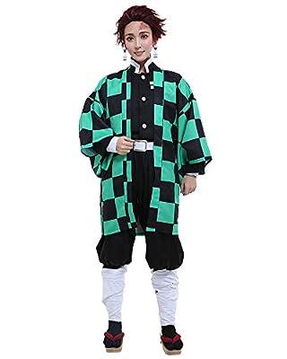 Miccostumes Men's Kamado Tanjiro Cosplay Costume Outfit Robe Kimono Uniform (M, Multicolored) from