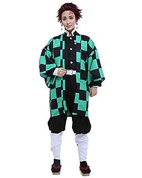 Miccostumes Men s Kamado Tanjiro Cosplay Costume Outfit Robe Kimono Uniform  M Multicolored