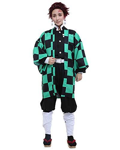 Miccostumes Men's Kamado Tanjiro Cosplay Costume Outfit Robe Kimono Uniform (L, Multicolored)