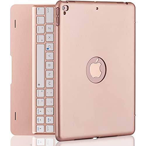iPad Keyboard Case for iPad Pro 9.7 Inch, New 2018 iPad, 2017 iPad, iPad Air 1 and 2 Bluetooth Keyboard with 130° Smart Folio Hard Back Cover, Ultra Slim, Auto Wake and Sleep - Rose Gold