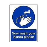 Sticker mural Maintenant, lavez-vous les mains sil vous plaît signez 150 mm x 200 mm Avis autocollant