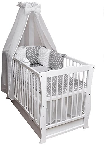 Rundum Juego completo de cuna convertible en cama infantil con colchón blanco de 120 x 60 cm (con cómodo colchón acolchado, 120 x 60 x 9 cm)