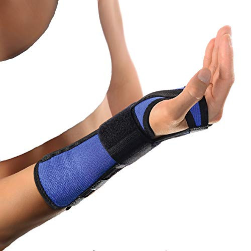 Bort Arm- und Handgelenkschiene Unterarm Bandage Handgelenk Stütze Alu Schiene, blau, S, Links