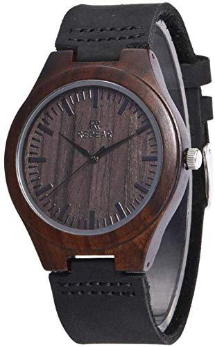 LLDKA Houten horloges mannen horloges en dames zwart hypo-allergene natuurlijke sandelhout armband handgemaakte Duurzame 2019