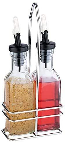 APS, Essig- & Öl-Menage, Glasbehälter mit Deckel und tropffreiem PE-Ausgießer, Menage Set für Essig & Öl, Glasmenage, 24 cm Höhe für je 0,12 Liter
