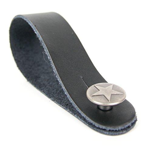 Gitarrengurt Haken in Schwarz mit Silber Sternen-Pin für jede Akustik-, E- Bass und Klassische Gitarren-Kopfplatte