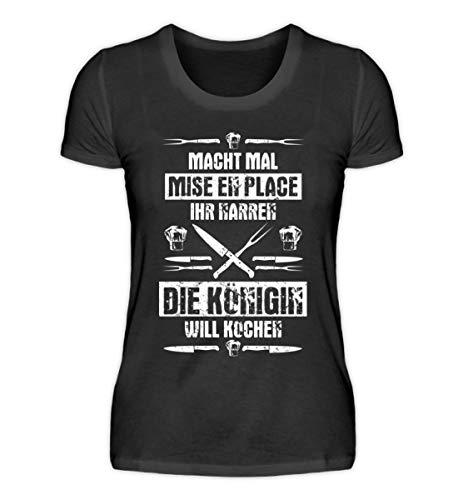 Koch-Shirt | Die Königin Will Kochen/Gastronomie Gastro T-Shirt/Arbeitskleidung/Lust - Damenshirt -L-Schwarz
