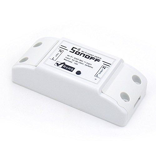 Sonoff Smart Hogar Wifi Smart Switch, Interruptor Temporizador de Control Remoto Inalámbrico Inteligente DIY 220v/10A / 2200W Domótica compatible con Android IOS Smartphone