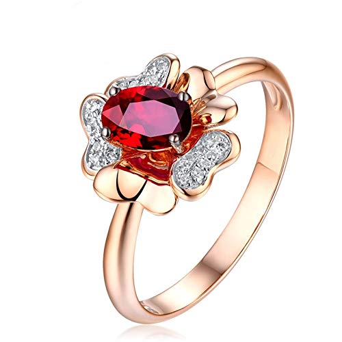 AueDsa Anillos Oro Rosa Anillos de Oro Rosa Mujer 18 Kilates Flor con Oval Rubí Rojo Blanco 0.6ct Anillo Talla 22