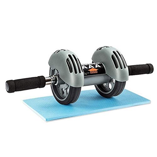 FFitness AB Roller with Spring Back Rueda Doble para Abdominales, Unisex Adulto, Gris, Talla única