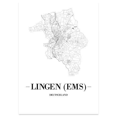 JUNIWORDS Stadtposter - Wähle Deine Stadt - Lingen (Ems) - 21 x 30 cm Poster - Schrift A - Weiß