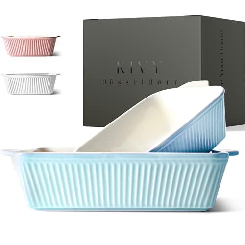 KIVY® Auflaufform [2er Set] - Perfekt für Lasagne,Tiramisu & Aufläufe - Lasagne Auflaufform Keramik - Auflaufform groß - Auflaufform klein - Lasagneform - Ofenform rechteckig - Tiramisu Form